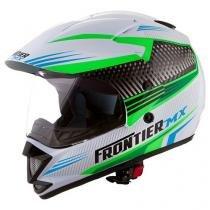 Capacete Frontier Air Mixs Branco, Verde e Azul - Tam. 58