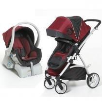Carrinho de Bebê Dzieco Maly e Bebê Conforto Cocoon - Preto Vinho - Dzieco