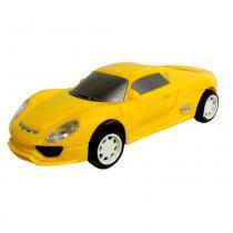 Carrinho Famoso com Fricção e Luz Porsche Amarelo 701 - Lider - Lider Brinquedos