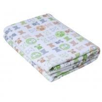 Cobertor de Enrolar Karinho Estampado Ursinho Bola Branco - Papi - Papi