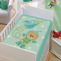 Cobertor Infantil Tradicional Astronauta Verde - Jolitex - Azul - Jolitex