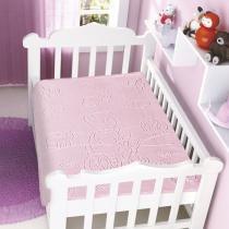 Cobertor Para Bebê Raschel com Relevo Bicicleta Rosa - Jolitex - Rosa - Jolitex