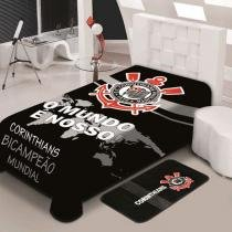 Cobertor Raschel Solteiro 1,50 x 2,20 Corinthians Bicampeão Mundial de Clubes - Jolitex - Corinthians - Jolitex