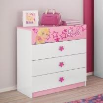 Cômoda Infantil Barbie Happy com 3 gavetas - Branco/Rosa - Pura Magia - Pura Magia