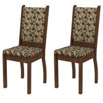 Conjunto com 2 Cadeiras Rústico/Tecido Floral-Bege Marrom - Madesa - Marrom - Madesa
