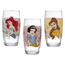 Conjunto de Copos 03 Peças - Disney Princesas - Nadir