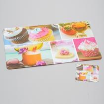 Conjunto de Jogo Americano e Porta Copos Cupcake para 4 Pessoas - Bon Gourmet