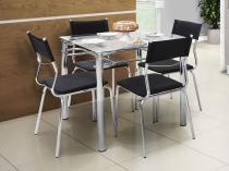 Conjunto de Mesa Aço Carbono com 4 Cadeiras - Estofadas - Somopar Tuane