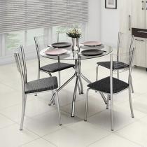 Conjunto de Mesa Aço Cromado 4 Cadeiras - Design Final Luana e Itália