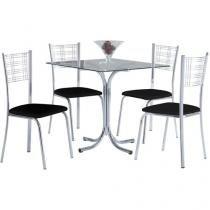 Conjunto de Mesa Aço Cromado 4 Cadeiras - Design Final Slin e Atlanta