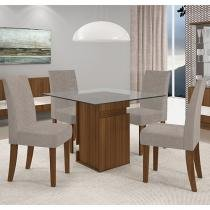Conjunto de Mesa com 4 Cadeiras Estofadas - Dj Móveis Thais