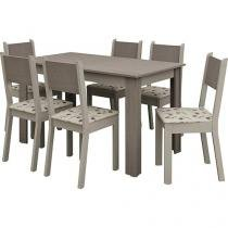 Conjunto de Mesa com 6 Cadeiras Estofadas Madesa - Estela