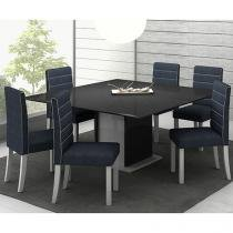 Conjunto de Mesa com 6 Cadeiras Estofadas - Madesa Valverde