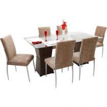 Conjunto de Mesa com 6 Cadeiras Estofadas Somopar - Monizza