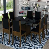 Conjunto de Mesa com 8 Cadeiras Estofadas - Madesa Gales