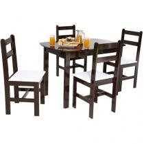 Conjunto de Mesa madeira maciça com 4 Cadeiras - Fritz Móveis Mille