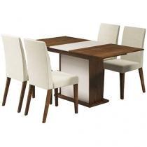 Conjunto de Mesa Madeira Maciça com 4 Cadeiras - Madesa Ágata
