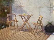 Conjunto de Mesa Madeira Maciça Dobrável - com 2 Cadeiras Tramontina Beer Teca
