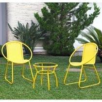 Conjunto de Mesa para Jardim/Área Externa Alumínio - com 2 Cadeiras Alegro Móveis ACJ300301