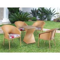 Conjunto de Mesa para Jardim/Área Externa Alumínio - com 4 Cadeiras Alegro Móveis ACJ301