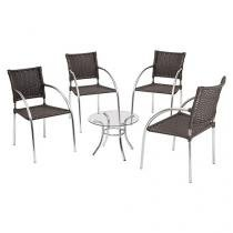 Conjunto de Mesa para Jardim/Área Externa Alumínio - com 4 Cadeiras Alegro Móveis ACJMC119151