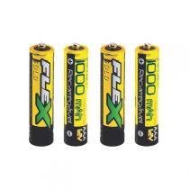 Conjunto de Pilhas Recarregáveis AAA 1000Mah 4 Unidades - Flex - Flex