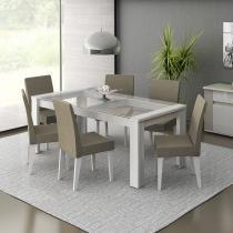 Conjunto Mesa de Jantar 1600 mm Cristal Branca + 6 Cadeiras Brancas Tecido Saara - Madesa - Branco - Madesa