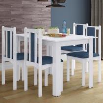 Conjunto Mesa de Jantar Com 4 Cadeiras Veneza Branco - Branco - Art in Móveis