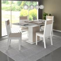 Conjunto Mesa de Jantar Elegance Extensível Branco/Vanila + 4 Cadeiras Branco/Vanila Suede - Madesa - Branco - Madesa