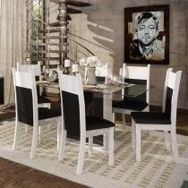 Conjunto Mesa de Jantar Nebraska Plus Branco/Preto + 6 Cadeiras Brancas Courino Preto - Madesa - Branco/Preto - Madesa