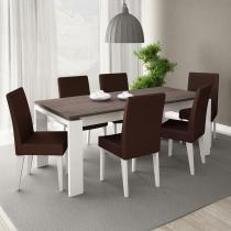 Conjunto Mesa de Jantar Onix Branco/Carvalho + 6 Cadeiras Brancas Courino Marrom - Madesa - Branco/Carvalho - Madesa