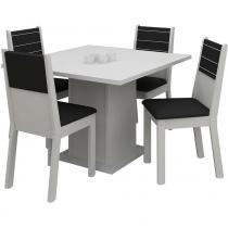 Conjunto Mesa de Jantar Vega Branca + 4 Cadeiras Brancas Courino Preto - Madesa - Branco - Madesa