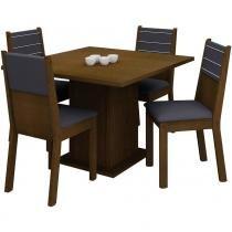 Conjunto Mesa de Jantar Vega Imbuia + 4 Cadeiras Imbuia Courino Preto - Madesa - Imbuia - Madesa