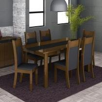 Conjunto Mesa de Jantar Veneza Imbuia/Preto + 6 Cadeiras Imbuia Courino Preto - Madesa - Imbuia/Preto - Madesa