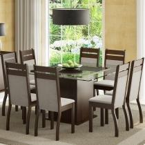 Conjunto Sala de Jantar para 8 Lugares Louise Tabaco/Suede Pérola - Madesa - Marrom - Madesa