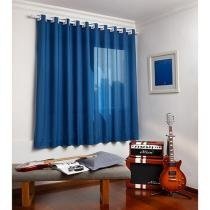 Cortina para Quarto e Sala Azul Santista - Londres 2,00x1,80m