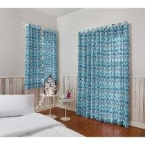 Cortina para Quarto e Sala Azul Santista - Londres Malay 2,00x1,80m