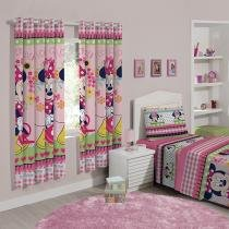 Cortina para Quarto Estampada Minnie Flowers - 2,00x1,80m Santista