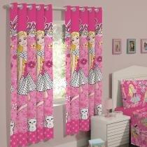 Cortina para Quarto Infantil Rosa Santista - Barbie Flower 2,00x1,80m