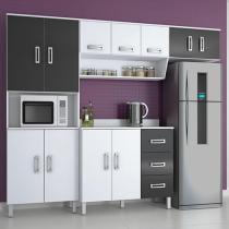 Cozinha Compacta Poliman Móveis Franciele - 8 Portas + Balcão com Tampo 2 Portas 3 Gavetas