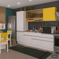 Cozinha Glamy Andressa Branco/Amarelo - Madesa - Branco - Madesa