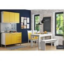 Cozinha Glamy Elis Graciele Branco/Amarelo - Madesa - Branco - Madesa