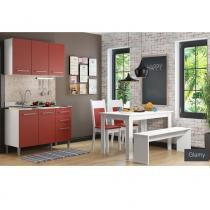Cozinha Glamy Elis Graciele Branco/Vermelho - Madesa - Branco - Madesa