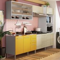 Cozinha Glamy Elis Orquídea Branco/Tirol/Amarelo - Madesa - Branco - Madesa