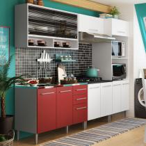 Cozinha Glamy Elis Orquídea Branco/Vermelho - Madesa - Branco - Madesa