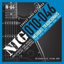 Encordoamento para Guitarra .010/.046 Tradicional N64 - NIG - NIG