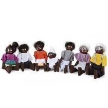 Família Terapêutica Negra com 7 Personagens 1162 Carlu - Carlu