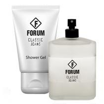 Forum Classic Jeans Eau de Cologne Forum - Kit Perfume Unissex 100ml + Gel de Banho 90ml - Forum