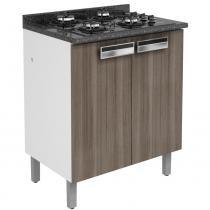 Gabinete 2 Portas para Cooktop 4 Bocas 90x70x50 cm Madeira Carvalho Amare - Itatiaia - Marrom - Itatiaia