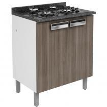 Gabinete 2 Portas para Cooktop 4 Bocas 90x80x50 cm Madeira Carvalho Amare - Itatiaia - Marrom - Itatiaia